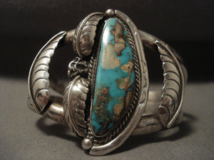 Very Rare Vintage Navajo 'Green Pilot Mountain' Turquoise Native American Jewelry Silver Bracelet-Nativo Arts