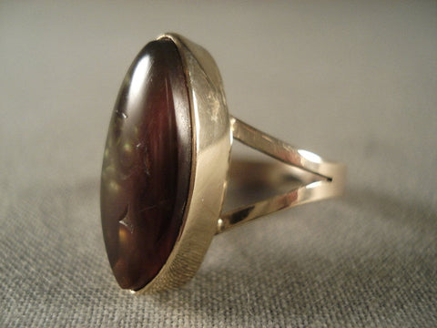 Very Rare Vintage Navajo Native American Jewelry jewelry Amber 14k Gold Ring-Nativo Arts