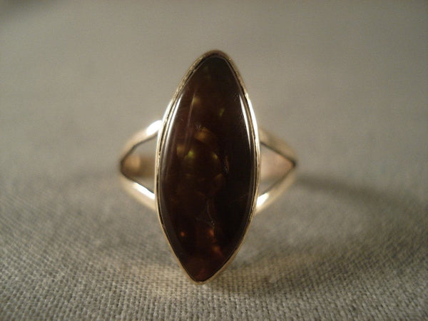 Very Rare Vintage Navajo Native American Jewelry jewelry Amber 14k Gold Ring