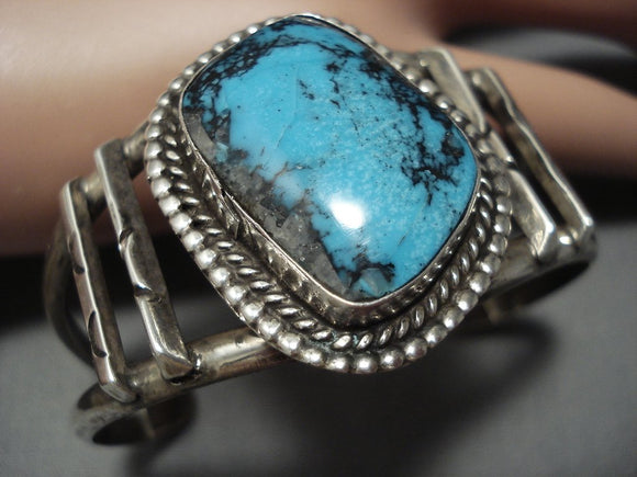 Very Rare Vintage Navajo Native American Jewelry jewelry Blue Diamond Turquoise Sterling Silver Bracelet-Nativo Arts