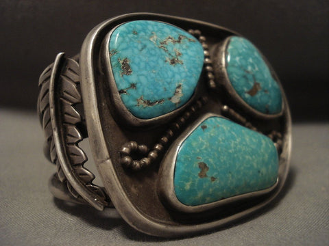 Very Rare Vintage Navajo old Deposit Turquoise Native American Jewelry Silver Bracelet Vtg-Nativo Arts