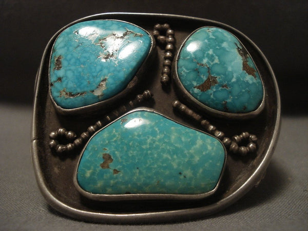 Very Rare Vintage Navajo old Deposit Turquoise Native American Jewelry Silver Bracelet Vtg