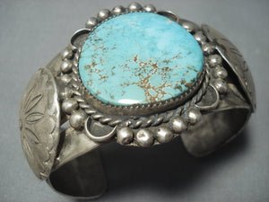 Very Rare Vintage Navajo Red Mountain Turquoise Sterling Native American Jewelry Silver Bracelet Cuff-Nativo Arts