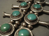 Very Rare Vintage Navajo 'Rounded Green Turquoise' Native American Jewelry Silver Squash Necklace-Nativo Arts