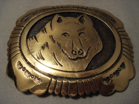 Very Rare Vintage Navajo Thomas Singer Gold Native American Jewelry Silver Wolf Buckle-Nativo Arts