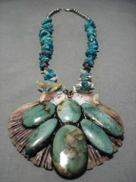 Very Rare Vintage Santo Domingo Native American Navajo Sterling Silver Turquoise Shell Necklace