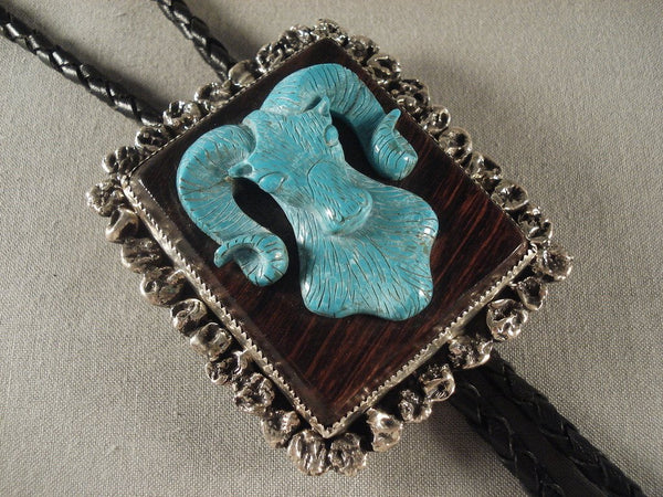 Very Rare Vintage Taos Turquoise Native American Jewelry Silver Bolo Tie Old Vtg
