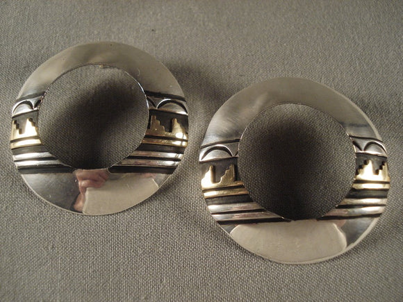 Very Unique Vintage Navajo Gold Native American Jewelry Silver Earrings-Nativo Arts