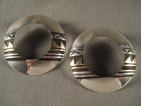 Very Unique Vintage Navajo Gold Native American Jewelry Silver Earrings