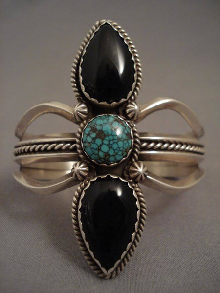 Very Unique Vintage Navajo Spiderweb Turquoise Native American Jewelry Silver Bracelet