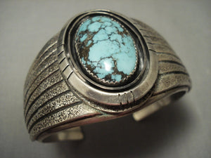 "Very Unique Vintage Navajo """"textured Flank Native American Jewelry Silver Bracelet Old Vtg-Nativo Arts"