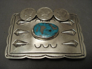 Very Unusual Vintage Navajo 1940's Repoussed Native American Jewelry Silver Buckle-Nativo Arts