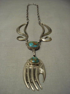 Very Very Important! Vintage Laguna Turquoise Greg Lewis Native American Jewelry Silver Hand Necklace-Nativo Arts