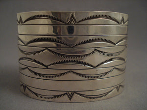 Very Wide Vintage Navajo Hand Wrought Native American Jewelry Silver Bracelet-Nativo Arts