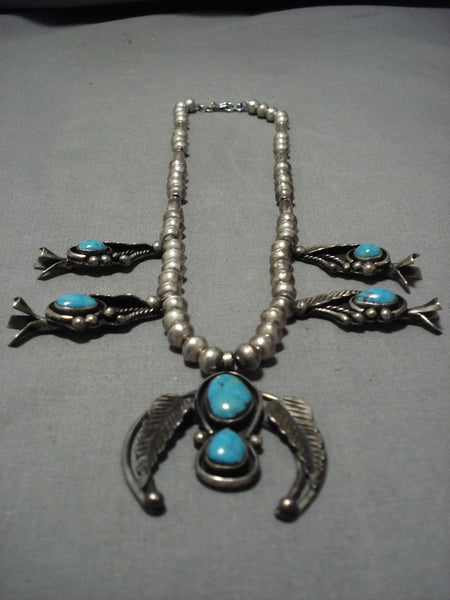 Vintage Native American Navajo Carico Lake Turquoise Sterling Silver Squash Blossom Necklace Old
