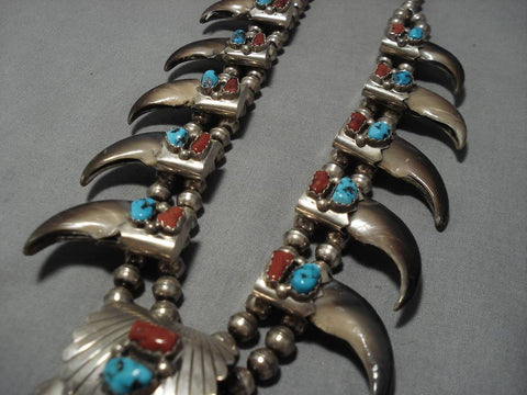 Vintage Native American Navajo Coral Turquoise Sterling Silver Squash Blossom Necklace Old-Nativo Arts