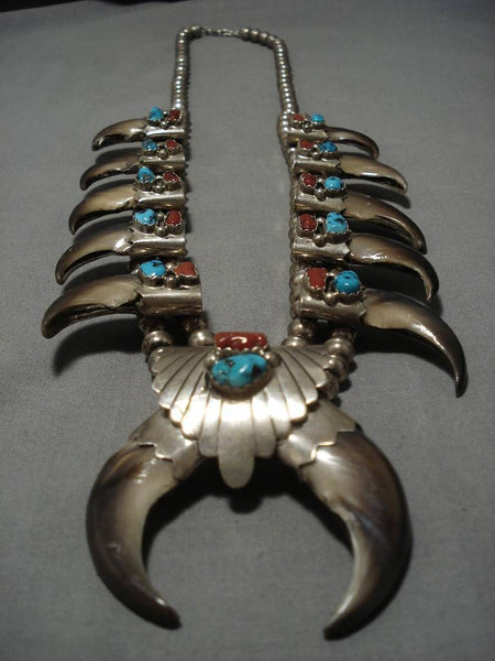 Vintage Native American Navajo Coral Turquoise Sterling Silver Squash Blossom Necklace Old