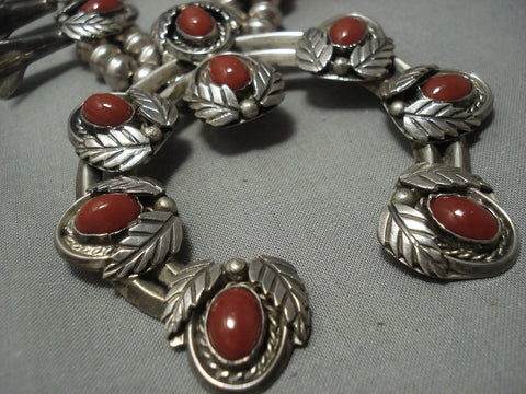 Vintage Navajo Coral Sterling Native American Jewelry Silver Squash Blossom Necklace Old Pawn-Nativo Arts