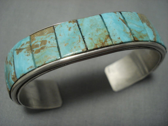 Vintage Navajo Royston Green Turquoise Inlay Sterling Native American Jewelry Silver Bracelet-Nativo Arts