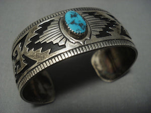 Vintage Navajo Rug Turquoise Sterling Native American Jewelry Silver Bracelet Old-Nativo Arts