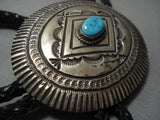 Vintage Navajo Turquoise Sterling Native American Jewelry Silver Bolo Tie Old-Nativo Arts