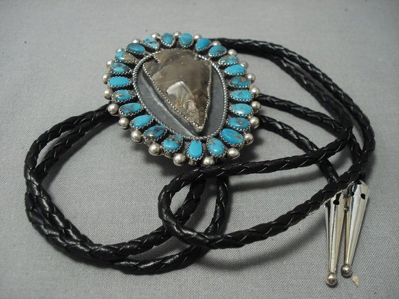 Vintage Navajo Turquoise Sterling Native American Jewelry Silver Bolo Tie-Nativo Arts