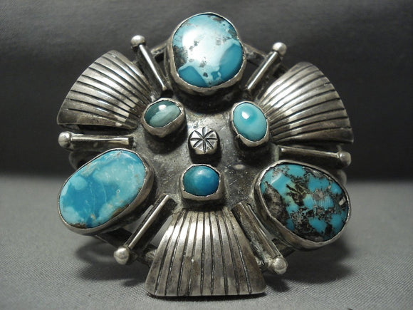 Vintage Navajo Turquoise Sterling Native American Jewelry Silver Bracelet Old Pawn Jewelry Cuff-Nativo Arts