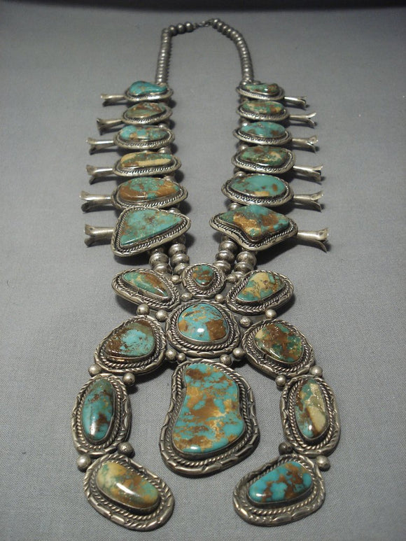Vintage Navajo Yazzie Green Turquoise Sterling Native American Jewelry Silver Squash Blossom Necklace-Nativo Arts
