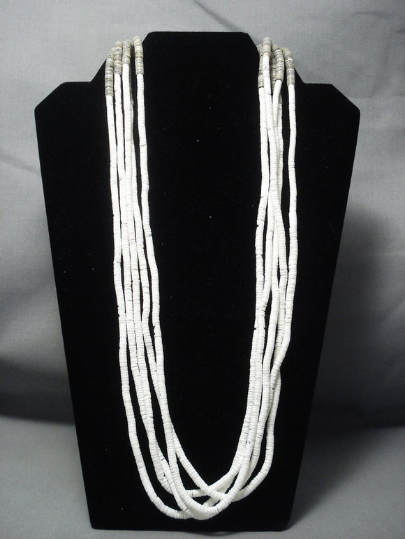 Vintage Santo Domingo 118 Gram White Heishi Necklace Old Pawn-Nativo Arts
