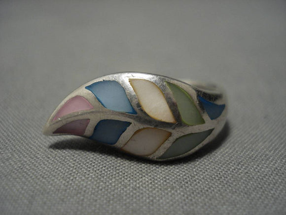 Vintage Zuni Sterling Silver Native American Inlay Ring Old-Nativo Arts