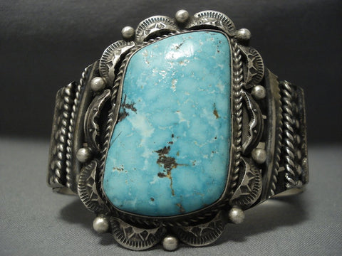 Vivid Blue Carico Lake Turquoise Vintage Navajo Sterling Native American Jewelry Silver Bracelet Old-Nativo Arts