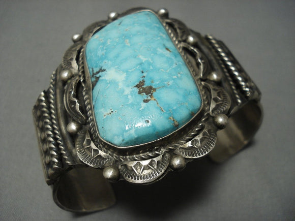 Vivid! Navajo Carico Lake Turquoise Sterling Native American Jewelry Silver Bracelet-Nativo Arts
