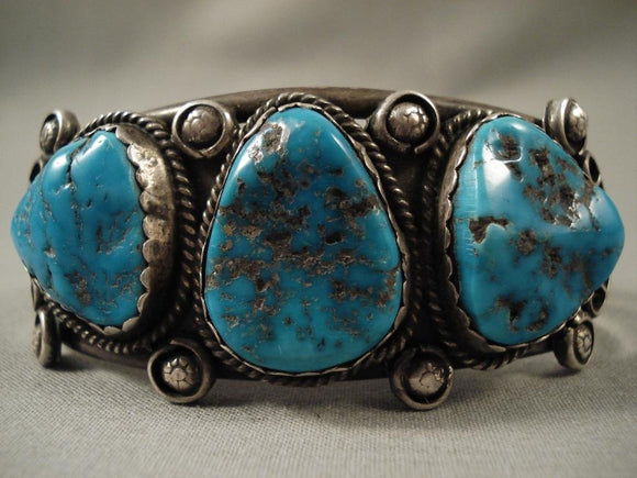 Vivid Vintage Navajo Blue Gem Turquoise Native American Jewelry Silver Bracelet-Nativo Arts