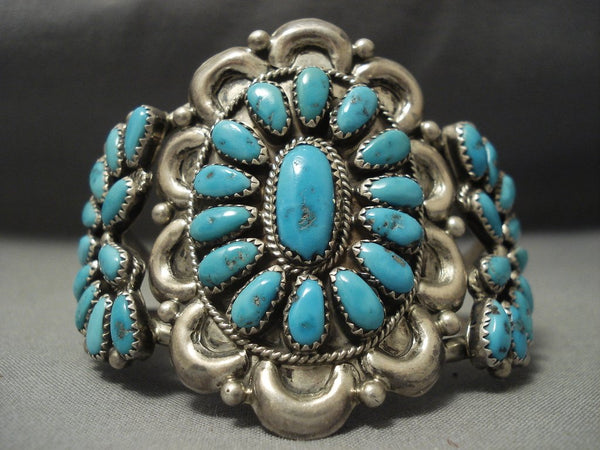 Waving Love Vintage Navajo Turquoise Native American Jewelry Silver Bracelet Old Vtg Native American Jewelry