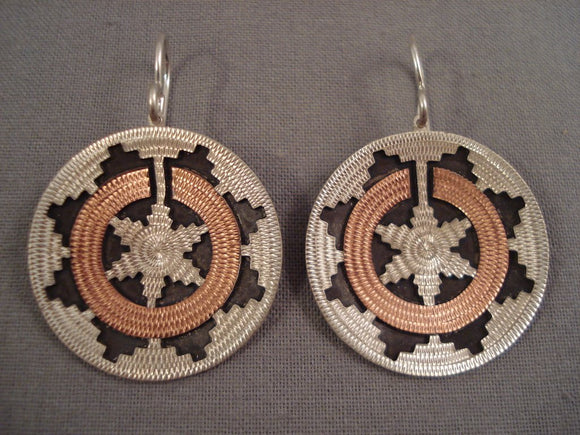 Wedding Basket Vintage Navajo Sterling Native American Jewelry Silver Earrings Old Pawn-Nativo Arts