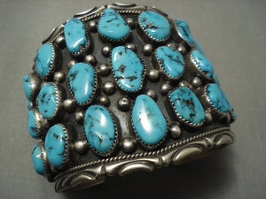 Whopping 143 Gram Vintage Navajo Blue Turquoise Sterling Native American Jewelry Silver Bracelet Old-Nativo Arts