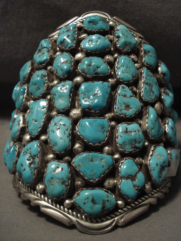 Whopping Vintage Navajo Towering Turquoise Nugget Native American Jewelry Silver Bracelet Old-Nativo Arts