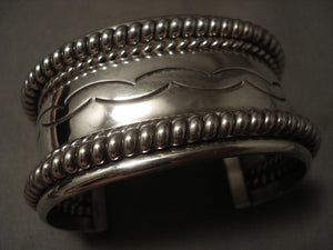 Wide 94 Gram Vintage Navajo Hand Pounded Sterling Native American Jewelry Silver Bracelet-Nativo Arts