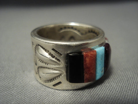 Wide Band Important Vintage Navajo Ray Adakai Turquoise Sterling Native American Jewelry Silver Ring-Nativo Arts