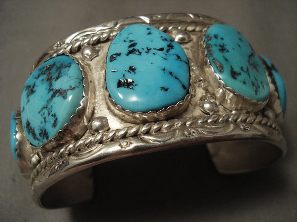 Wide Men's Chunky Turquoise Vintage Navajo Native American Jewelry Silver Bracelet-Nativo Arts