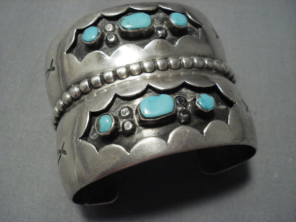 Wide Museum Quality Vintage Navajo Native American Jewelry jewelry Blue Gem Turquoise Sterling Silver Bracelet-Nativo Arts