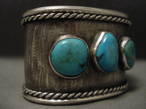 wide Old Navajo Turquoise Native American Jewelry Silver Bracelet, Old!-Nativo Arts