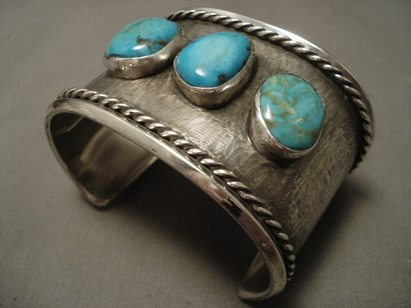 wide Old Navajo Turquoise Native American Jewelry Silver Bracelet, Old!