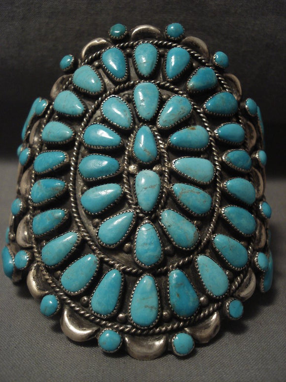 Wide Wide Vintage Navajo #8 Turquoise Native American Jewelry Silver Bracelet- 1950's-Nativo Arts
