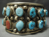 "Wide Wide Wide Vintage Navajo Native American Jewelry jewelry Turquoise Coral """"personal Navajo Native American Jewelry jewelry"""" Bracelet-Nativo Arts"