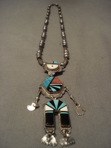 Woah! Museum Vintage Navajo Oscar Alexius Turquoise Native American Jewelry Silver Kachina Necklace-Nativo Arts