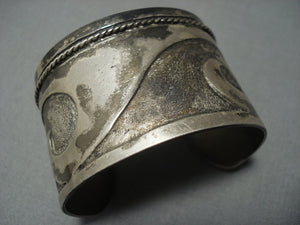 Woah! Vintage Hopi/ Navajo Geometric Sterling Native American Jewelry Silver Bracelet-Nativo Arts
