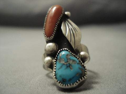 Wonderful Rare Turquoise Persin Coral Sterling Native American Jewelry Silver Ring Old Pawn-Nativo Arts