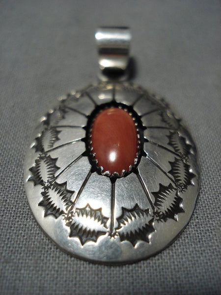 Wonderful Vintage Native American Jewelry Navajo Concho Coral Sterling Silver Pendant Old-Nativo Arts