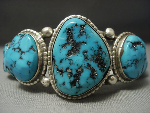 Wonderful Vintage Navajo Arizona Turquoise Sterling Native American Jewelry Silver Bracelet Old-Nativo Arts